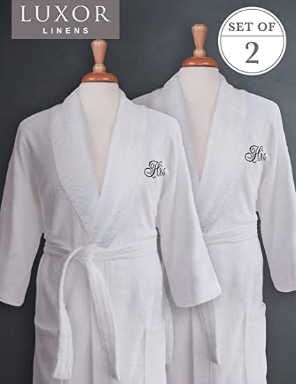 Luxor Linens - Terry Cloth Bathrobes - 100% Egyptian Cotton Same Sex- His   f78fa56cb