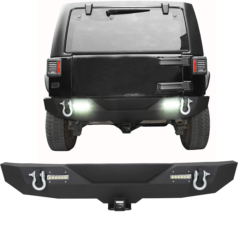 Black Textured Rear Bumper For 2007-2018 Jeep Wrangler Textured Black