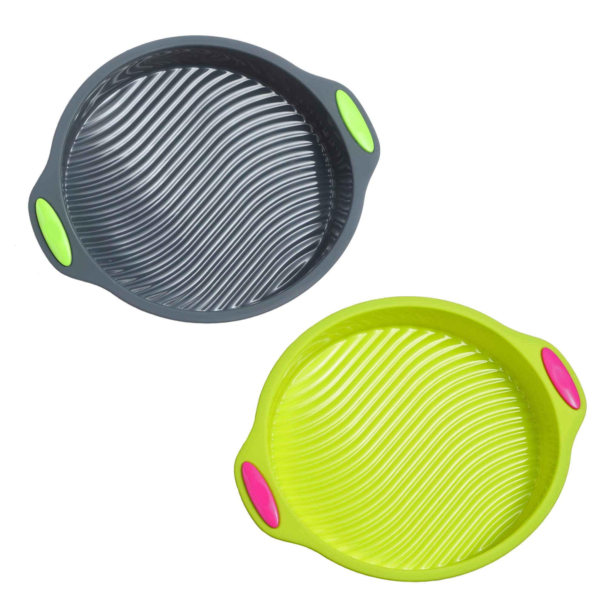 Megrocle 9-Inch Food Grade Silicone Round Cake Pan Set of 2, Non Stick Reusable BPA-Free FDA-Approved Large Baking Pans Silicone Cake Mold Bakeware Set by megrocle