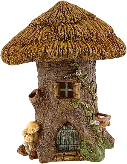 Top Collection Miniature Garden and Terrarium Large Thatched Roof Tree Stump Fairy House Figurine