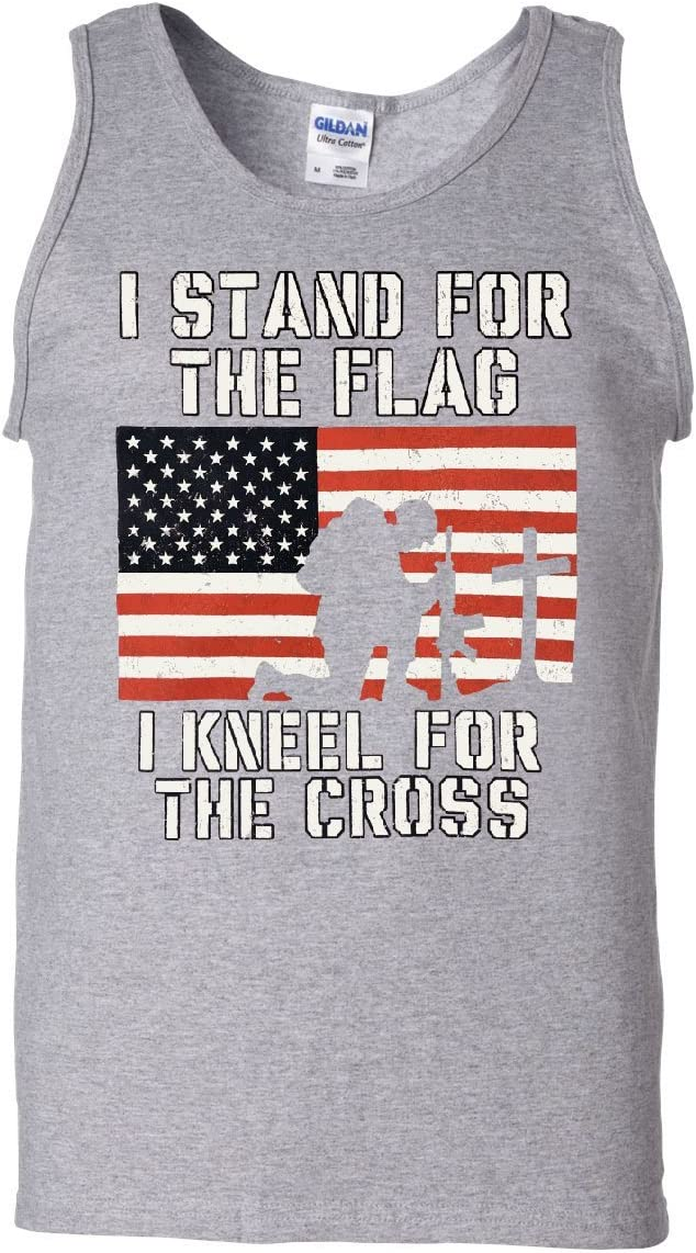 I Stand for The Flag I Kneel for The Cross Tank Top Patriotic Military