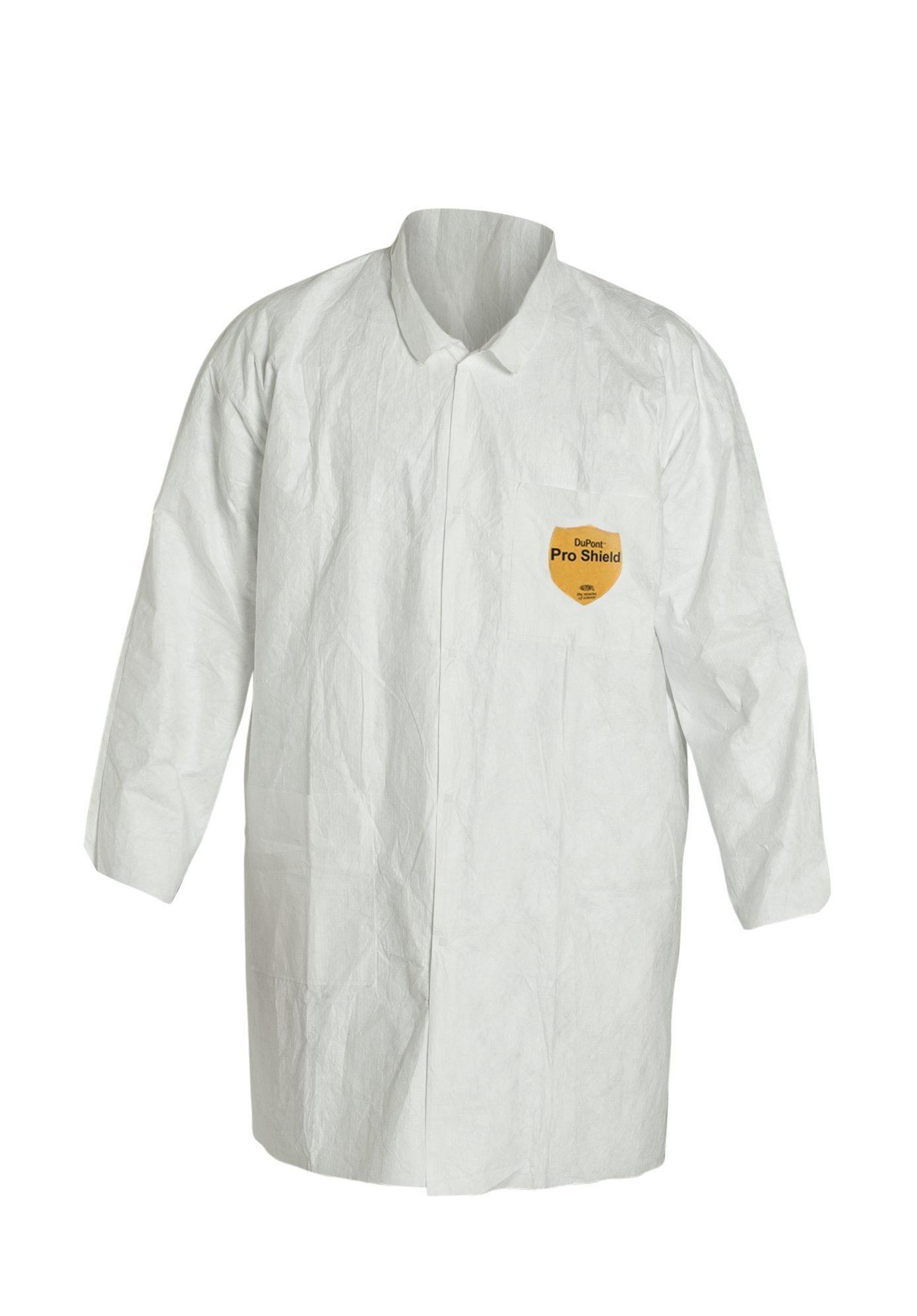 DuPont Tyvek 400 TY212S Disposable Lab Coat with Open Cuff, White, Large (Pack of 30)