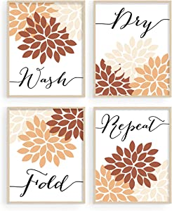 Laundry Room Wall Decor, Boho Wall Art, Wash Dry Fold Repeat Posters Prints, Laundry Room Decor and Accessories, Laundry Decor, Laundry Room Sign, Laundry Room Decor (Set of 4, 8X10in, Unframed)