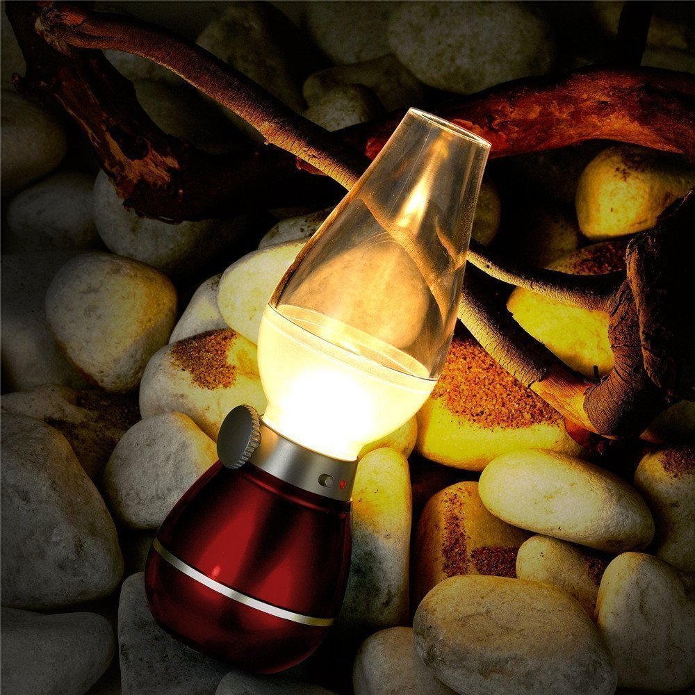 SKS 4 Pcs Portable USB Rechargeable Led Nostalgic Blow Motion Control Night Light Vintage Retro Table Lamp for Diwali Office Home Camping (Set of 4 Pcs)