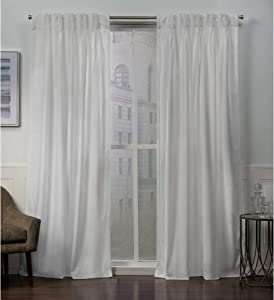 Exclusive Home Curtains Velvet Pinch Pleat Curtain Panel, 52x108, Winter White, 2 Panels