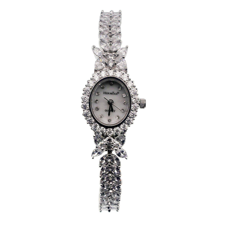 HERMOSA Watch Bracelet Oval Dial White Topaz Watchband Japanese Quartz Movement Classic Watches H2246