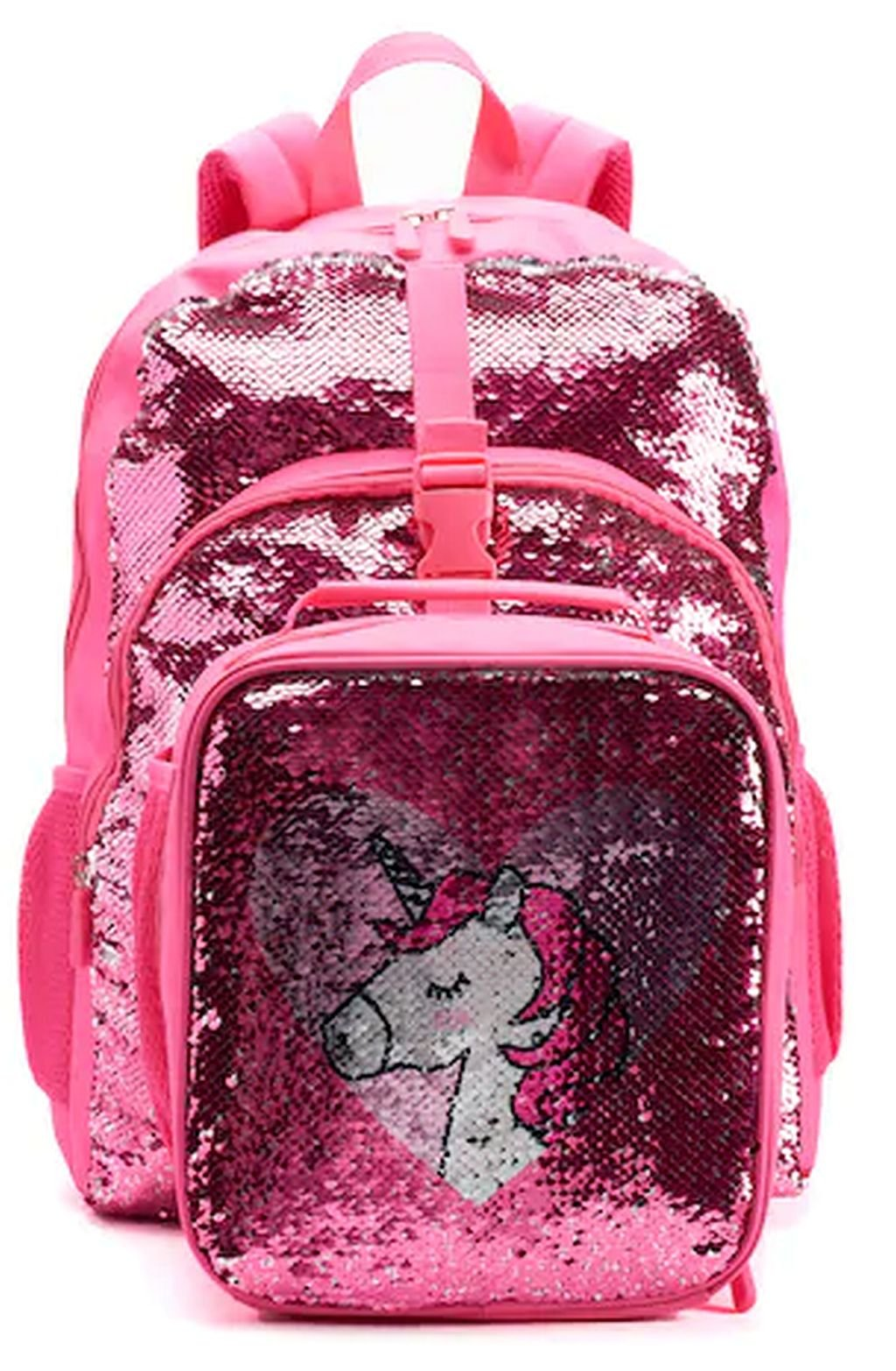 Kids Flippable Sequins''I Love Unicorns'' Backpack & Lunch Bag Set by A22 (Image #1)