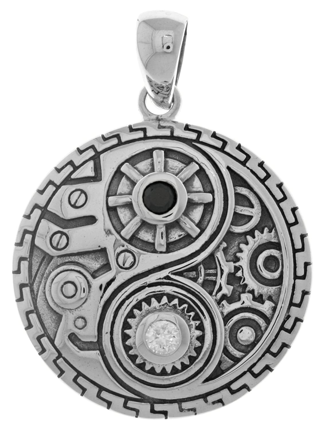 Jewelry Trends Sterling Silver and CZ Steampunk Yin Yang Pendant