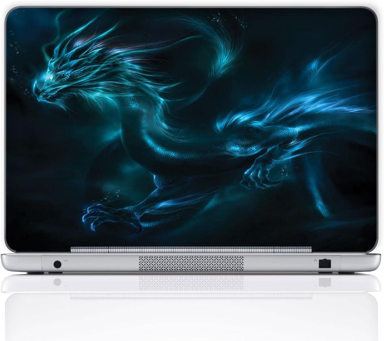 Meffort Inc 15 15.6 Inch Laptop Notebook Skin Sticker Cover Art Decal (Free Wrist pad) - Blue Dragon