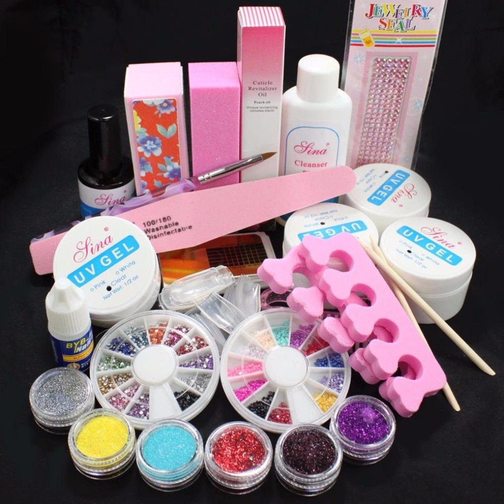 LHWY 2017 Nouveau complet Acrylique Glitter Powder Glue Fichier Nail Art Français Gel UV Conseils Kit Set