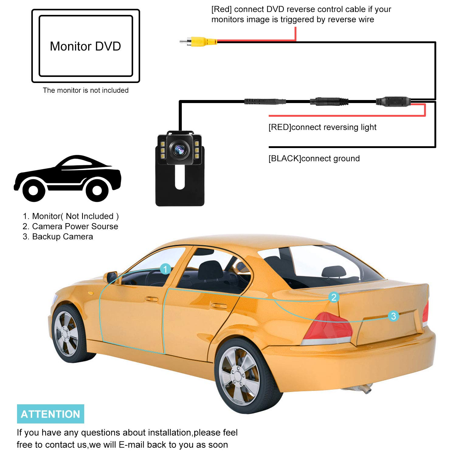 Super Night Vision 170/°Wide Angle IP69K Waterproof Car Backup Camera HD Picture Quality and One Wire Easy Installation Reverse Reversing Rear View Camera for Cars Jeeps Trucks