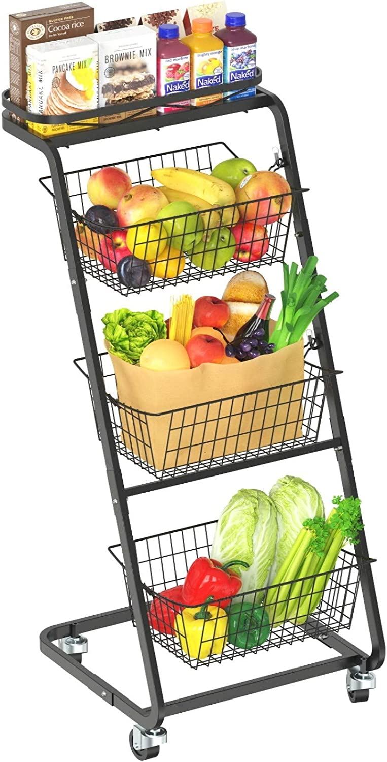 Fruit Basket, Packism 4 Tier Rolling Wire Market Basket Stand with Wheel 3 Removable Wire Basket for Fruit Vegetable Storage, Space Saving Floor Stand Metal Storage Basket for Kitchen Bathroom Office