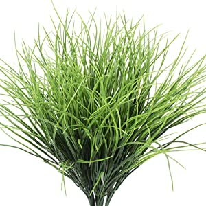 Artificial Grass Plants Fake Bushes Artificial Shrubs Wheat Grass Greenery for House Plastic Outdoor UV Faux Garden Resistant Garden Office Indoor Decor (Pack of 4)