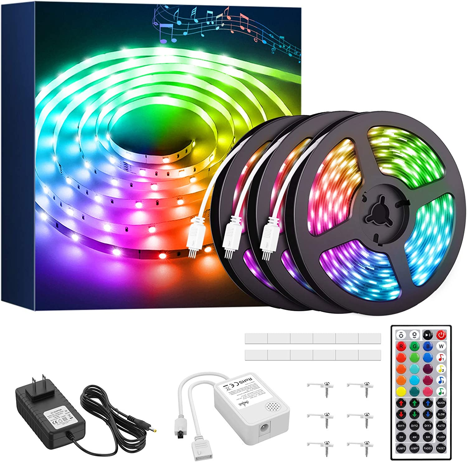 Onforu 50ft RGB LED Strip Lights, Music Synchronized Light Strip with 44 Keys Remote, Color Changing Room Lights with Timing, 5050 RGB Tape Light, DIY Multicolor Rope Light for Bedroom, TV, Party, Bar