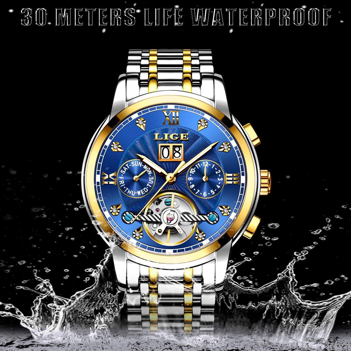 LIGE Relojes Hombres Moda Acero Inoxidable Impermeable Automático Mecánico Reloj Fecha Negocios Hombre Lujo Reloj De Pulsera Azul Dorado: Amazon.es: Relojes