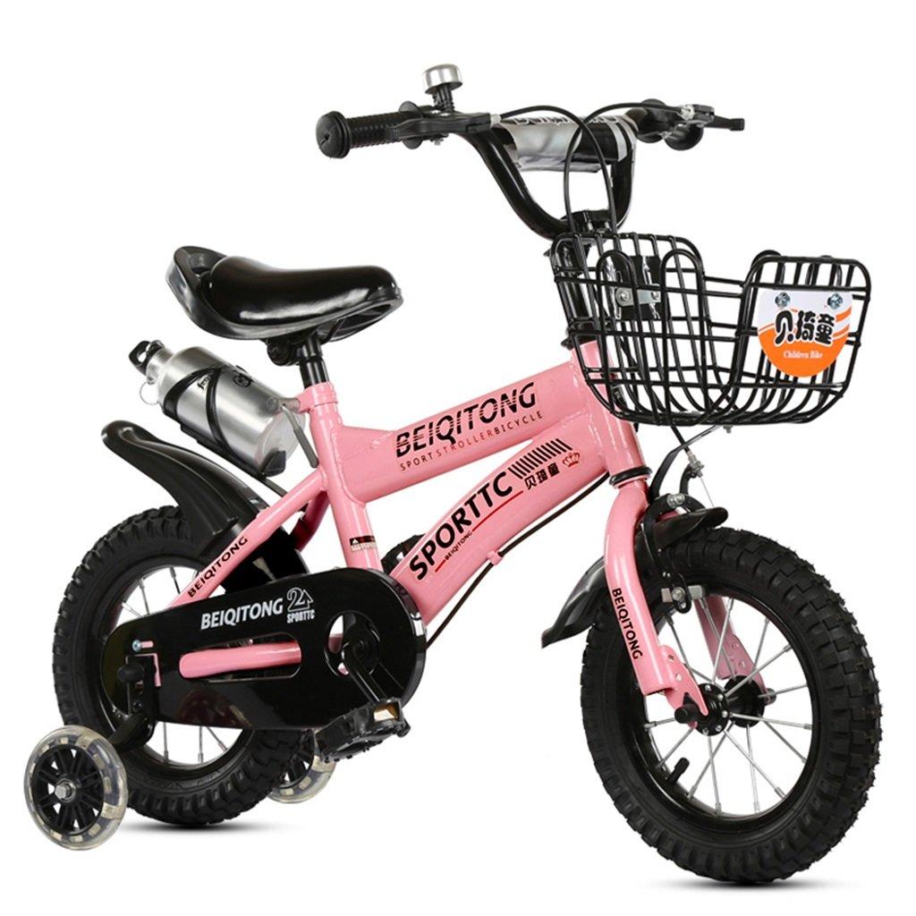 KANGR-子ども用自転車 子供用自転車適合2-3-6-8男の子と女の子子供用玩具屋外用マウンテンバイクハンドルバーとサドルはフラッシュトレーニングホイールで調節可能な高さにできますウォーターボトルとホルダー-12 / 14/16/18インチ ( 色 : ピンク ぴんく , サイズ さいず : 12インチ ) B07BTWP6ML 12インチ|ピンク ぴんく ピンク ぴんく 12インチ