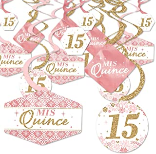 product image for Big Dot of Happiness, LLC Mis Quince Anos - Quinceanera Sweet 15 Birthday Party Hanging Decor - Party Decoration Swirls - Set of 40