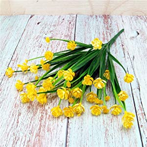FLOVE 8 Bundles Artificial Flowers Outdoor UV Resistant Fake Plastic Shrubs Plants Hanging Faux for Home Decoration Porch Window Vase Wedding Garden Farmhouse Decor (Yellow, 8 Bundles)