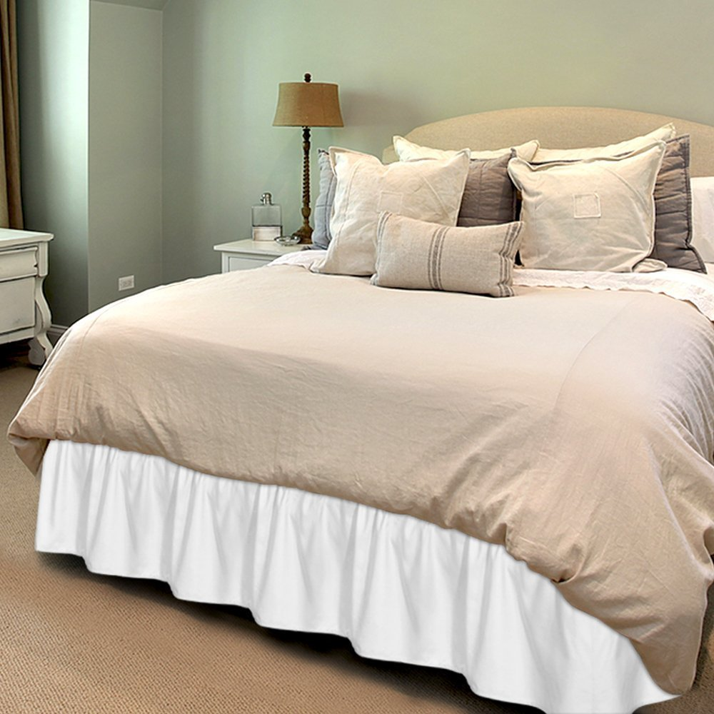 Bed Ruffle Skirt Queen, White Brushed Microfiber Bed Wrap with Platform