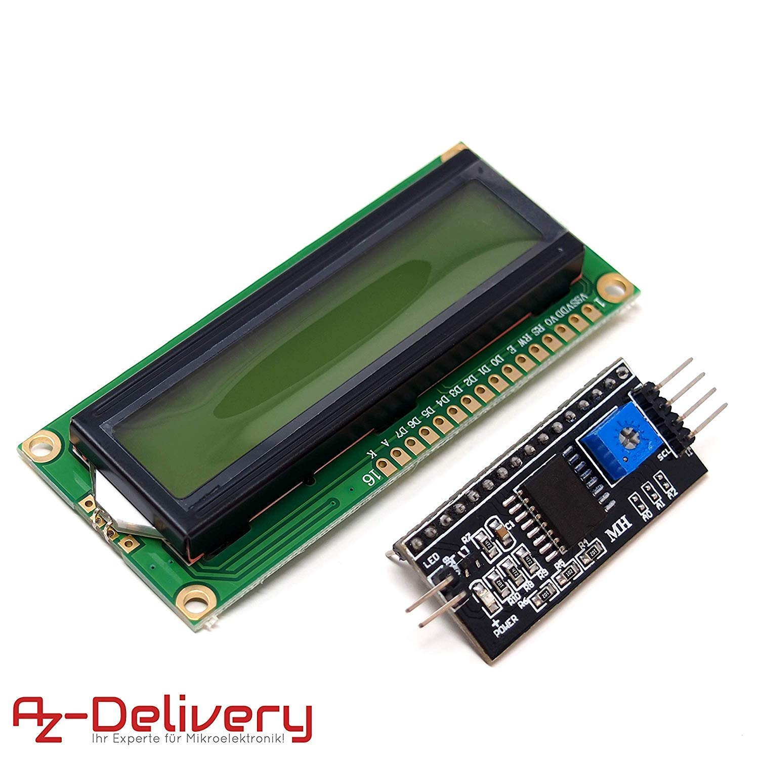 AZDelivery Modulo Pantalla LCD Display Verde HD44780 1602 con interfaz I2C 16x2 caracteres compatible con Arduino con E-book incluido!