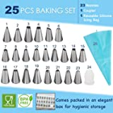 Bulfyss 23 Nozzles, 1 Coupler & 1 Reusable Silicone Icing Bag Kit for Cup Cake, Muffin, Cake Icing, Piping and Decoration (Total 25 Pieces with Storage Box)