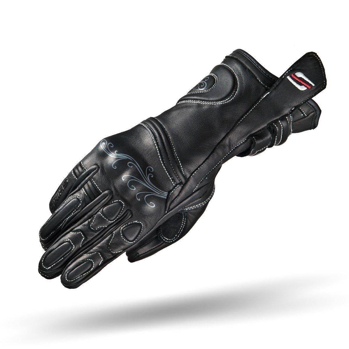 SHIMA Modena, Summer LeatherSoft Sport Stylish Women Lady Fit Motorcycle Gloves (XS-L) (S, Black)