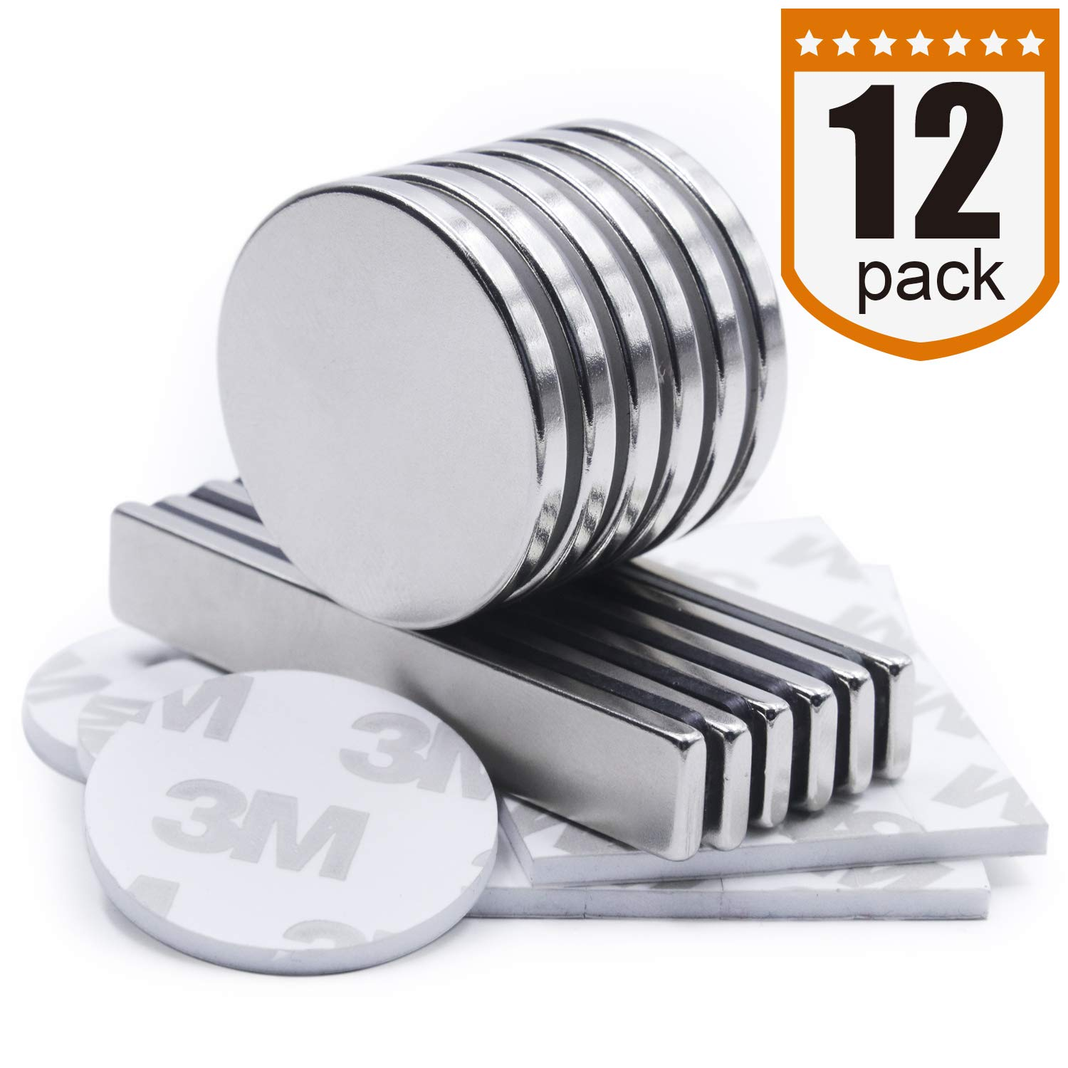 Neodymium Bar/Disc Magnets Combo 12 Pack - Rare Earth Magnets for Multiuse DIY Projects, Tool Storage, Refrigerator, Office, Arts and Crafts