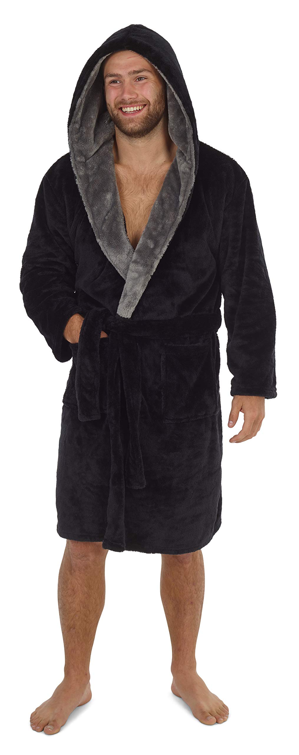 Retirement Novelty Gifts for Him Super Soft Mens Dressing Gown with Hood Black Or Grey Fleece Lounge Wear Birthday CityComfort Dressing Gown Mens Fluffy Anniversary