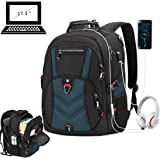 Laptop Backpack 17 Inch Business Travel Backpacks for Men Women Extra Large Waterproof TSA Anti Theft College School Bookbags with USB Charging Port 17.3 Gaming Computer Backpack 45L, Blue