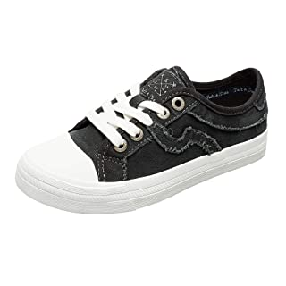 SALT&SEAS Women Adults Canvas Fashion Sneakers Low Top Lace Up Lightweight Flat Breathable Casual Shoes Black, 7