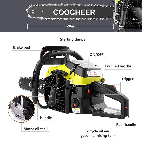 Amazon.com: OppsDecor 58cc motosierra a gas: Jardín y Exteriores