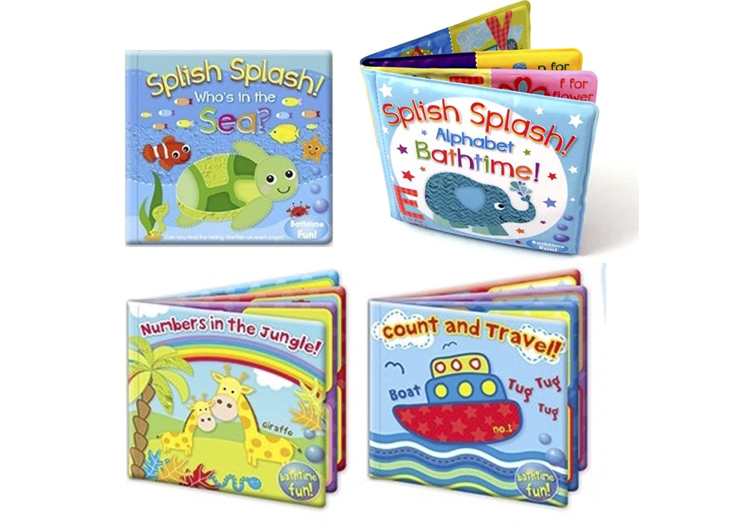 Set of 4 Baby Bath Books | First Words ABC Letters & Numbers | Plastic Coated & Padded | Floating Fun Educational Learning Toys for Toddlers & Kids RSW