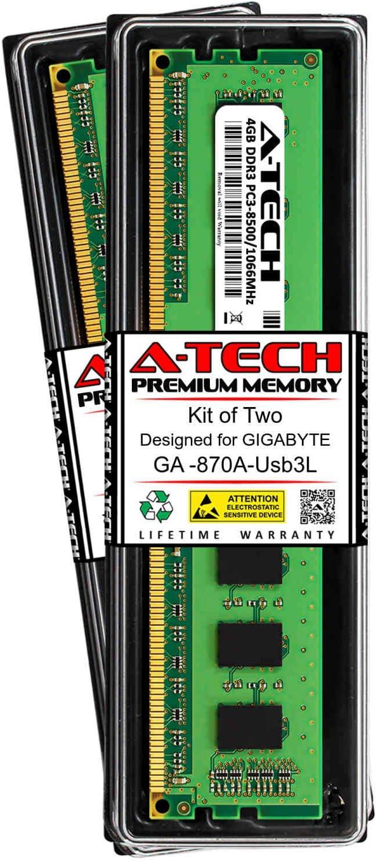 DDR3 1066MHz DIMM PC3-8500 240-Pin Non-ECC UDIMM Memory Upgrade Kit A-Tech 8GB RAM for GIGABYTE GA GA-870A-USB3L 2 x 4GB
