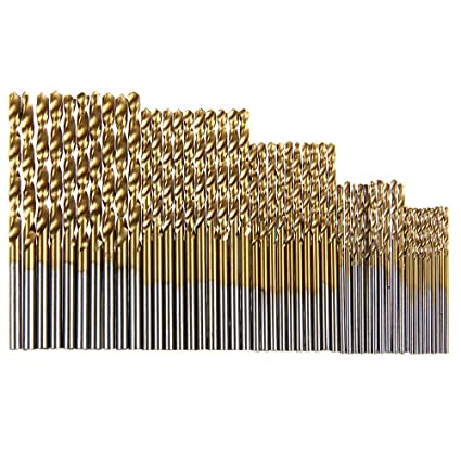 50PCS 50PCs Steel Twist Titanium Coated Drill Bit Set Tool 1//1.5//2//2.5//3mm,High Speed Woodworking HSS Electric Auger Spiral Hand Tools