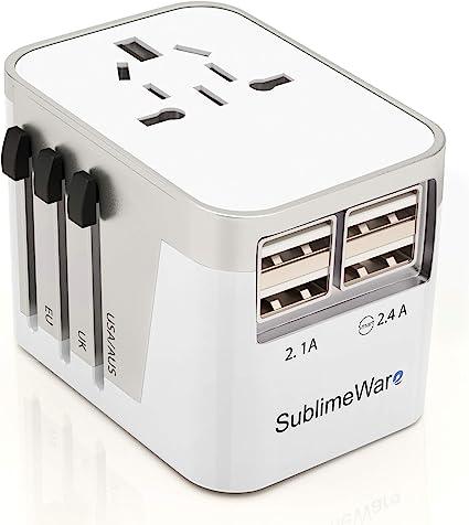 Travel Adapter Universal International Power Outlet Plug EU US AU UK 4-USB Black