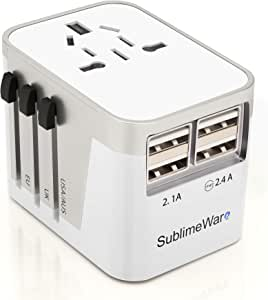 Power Plug Adapter - International Travel - w/4 USB Ports Work for 150+ Countries - 220 Volt Adapter - Travel Adapter Type C Type A Type G Type I f for UK Japan China EU Europe European by SublimeWare