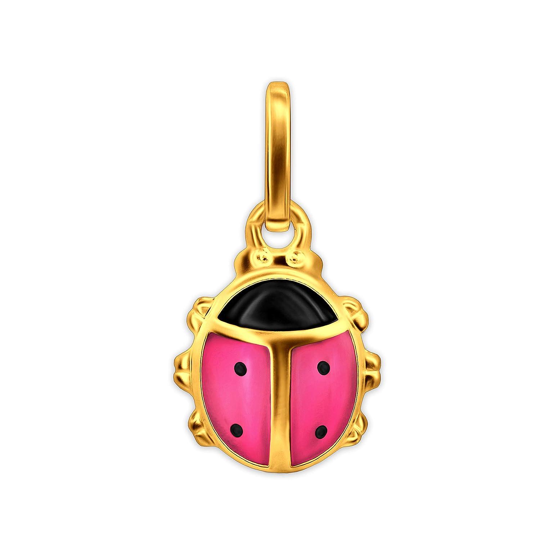 /Parure Dor/é enfants Pendentif Mini coccinelle rose et noir laqu/é 333/or 8/cts Clever/