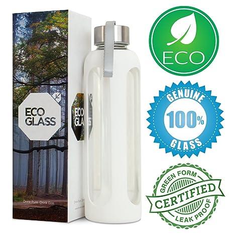 Eco botella de agua de vidrio – hecho de 100% auténtica Eco – solo Amazon