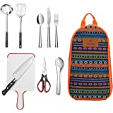 9-Piece Camping Cooking Utensils Set| CHANODUG Camping Cookware Utensils For Travel Kitchen,Camping Equipment [Update 2.0]
