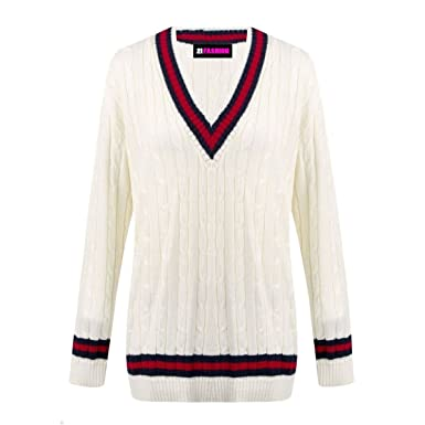abcc48d46d4 Ladies Cable Knitted Plain Cricket Jumper Womens Long Sleeve V Neck  Sweater  Amazon.co.uk  Clothing