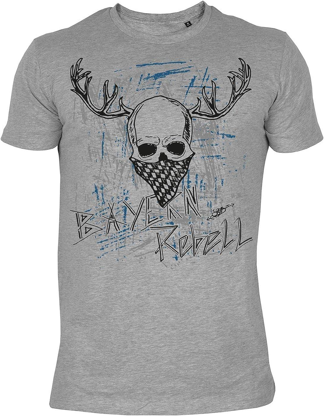 Herren Trachten-Shirt////Biker-Style mit Totenkopf//Hirsch-Motiv Bayern Rebell