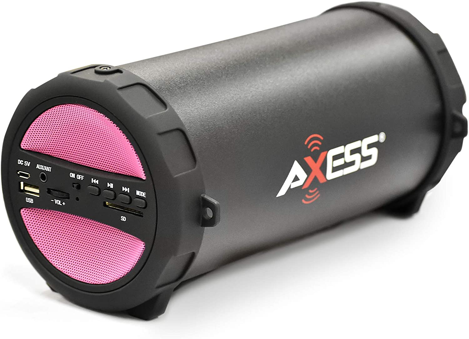AXESS SPBT1041 Portable Thunder Sonic Bluetooth Cylinder Loud Speaker with Built-in FM Radio, SD Card, USB, AUX Inputs in Pink