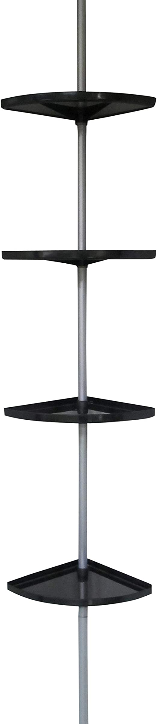 Estantería en Àngulo Telescópica para Ducha Erica, con 4 Baldas de Color Negro, Barra Extensible de 155-280 cm, Revestimiento de PVC Plateado, 100 % ...