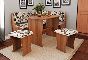 FIJI Kitchen Nook Dining Table Set L Shaped Storage Bench In Alder Brown Flowers