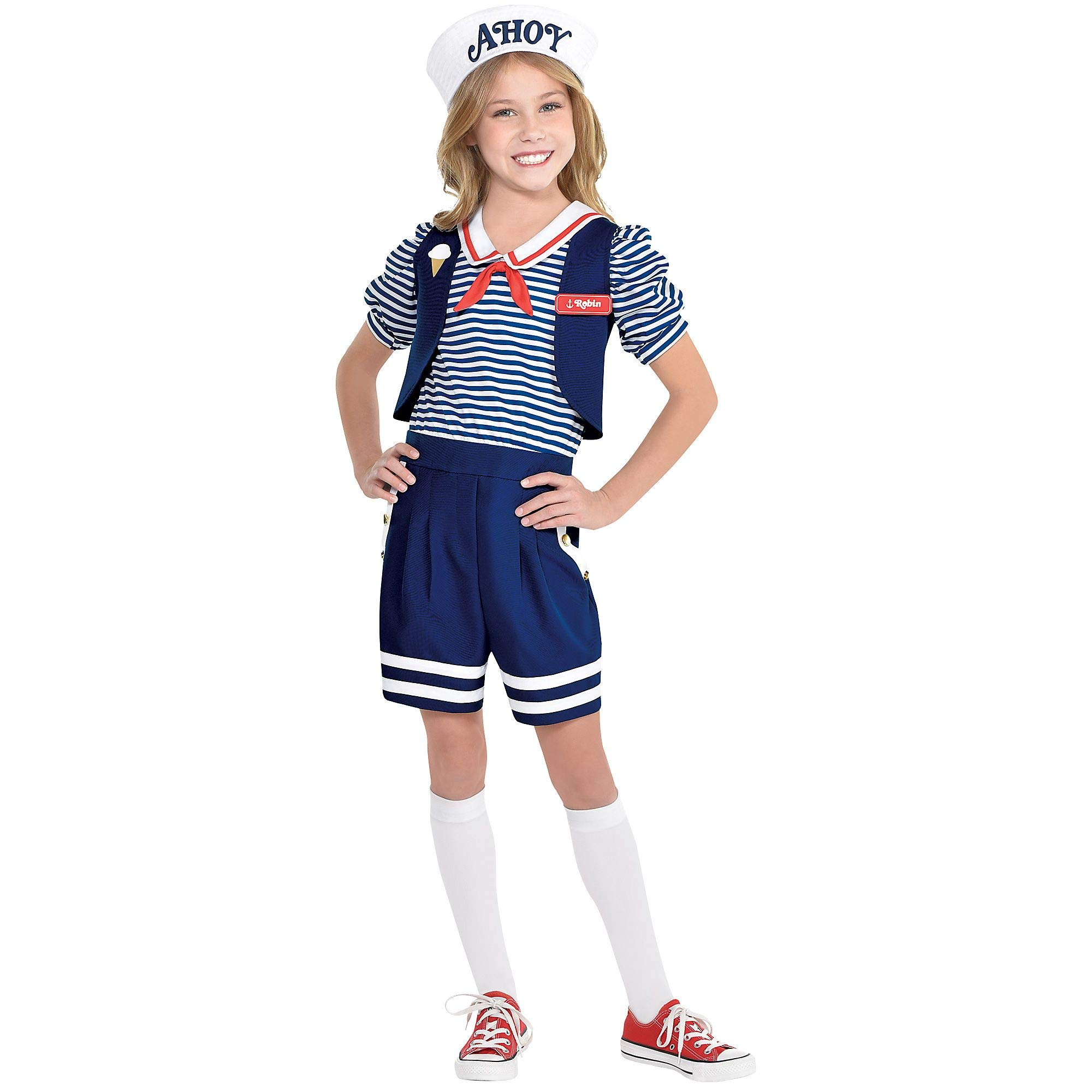 Party City Stranger Things Robin Scoops Ahoy Costume for Children, Size Large, Includes a Romper, a Hat, and Name Badge
