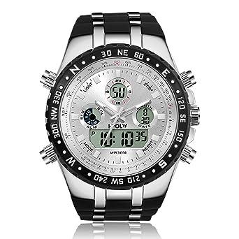 10d84bc2d5 メンズ腕時計 多機能スポーツウォッチ DWG アナデジ表示 LEDバックライト付き 二つの時間
