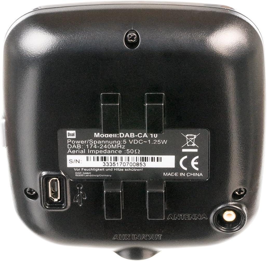 schwarz automatischer Sendersuchlauffunktion, Bluetooth und AUX-In-Anschluss, Farbdisplay Dual DAB CA 10 KFZ Adapter