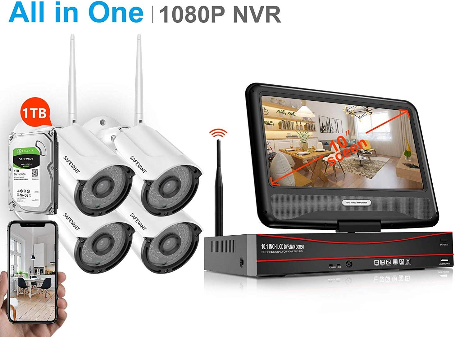 1080P Security Camera System Wireless with Monitor,SAFEVANT 8CH All in One NVR Kits with 4pcs 960p Indoor Outdoor IP Cameras with Night Vision,1TB Hard Drive for 7 24 Recording