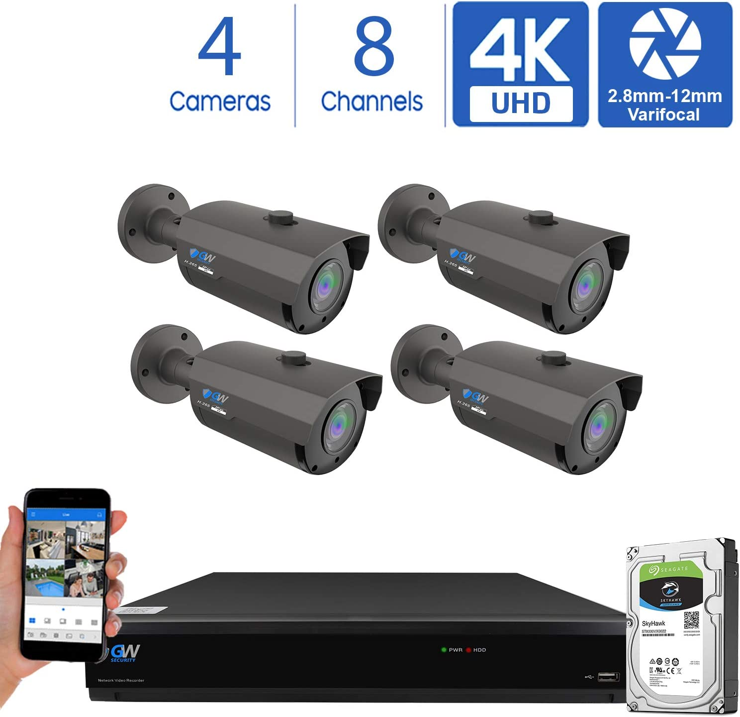 GW 8 Channel 4K H.265 CCTV DVR Security Camera System with 4 x UHD 8MP 2.8-12mm Varifocal Zoom 4K Bullet Surveillance Cameras and 2TB HDD, Free Remote View, Motion Alert with Snapshot