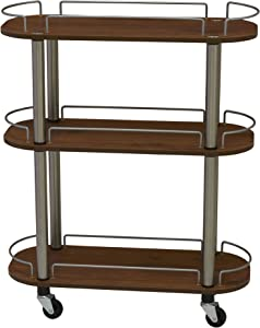Household Essentials 3-Shelf Multi-Purpose Utility Cart with Wheels, Chrome and Walnut